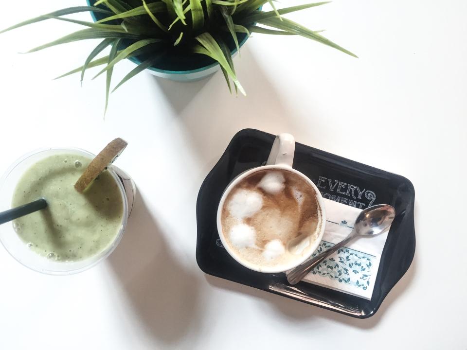 Vegan latte coffee and a green smoothie in Moka Bar Burgas